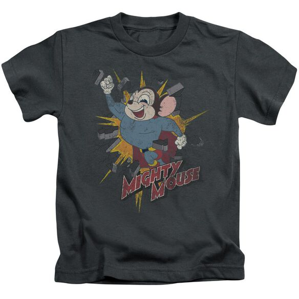 Mighty Mouse Break Through Short Sleeve Juvenile Charcoal T-Shirt
