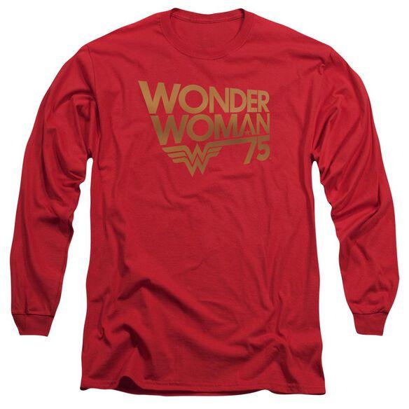 Wonder Woman Wonder Woman 75 Th Anniversary Gold Logo Long Sleeve Adult T-Shirt