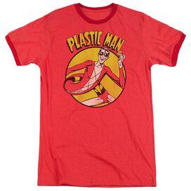 Dc Plastic Man Adult Heather Ringer Red