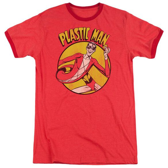 Dc Plastic Man Adult Heather Ringer Red