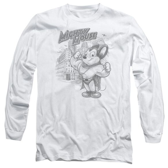 Mighty Mouse Protect And Serve Long Sleeve Adult T-Shirt