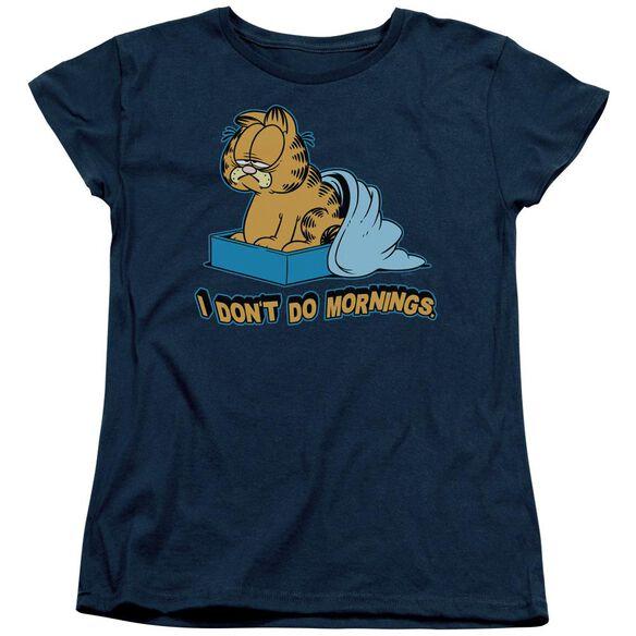 Garfield I Dont Do Mornings Short Sleeve Womens Tee Navy T-Shirt