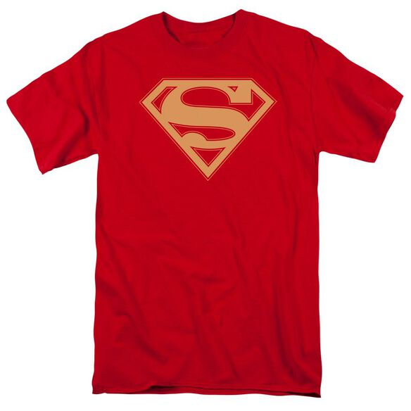 Superman Red & Gold Shield Short Sleeve Adult Red T-Shirt