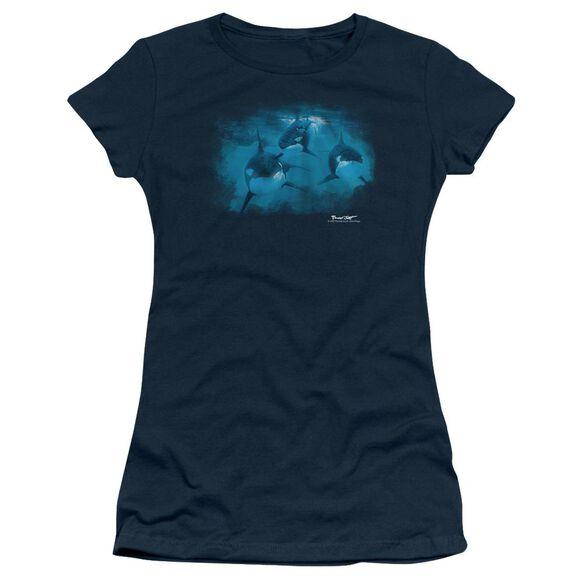 Wildlife Pod Of Orcas Short Sleeve Junior Sheer T-Shirt