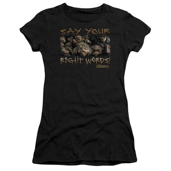 Labyrinth Say Your Right Words Short Sleeve Junior Sheer T-Shirt