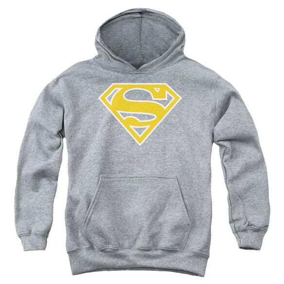 Superman Lt Orange & White Shield Youth Pull Over Hoodie Athletic