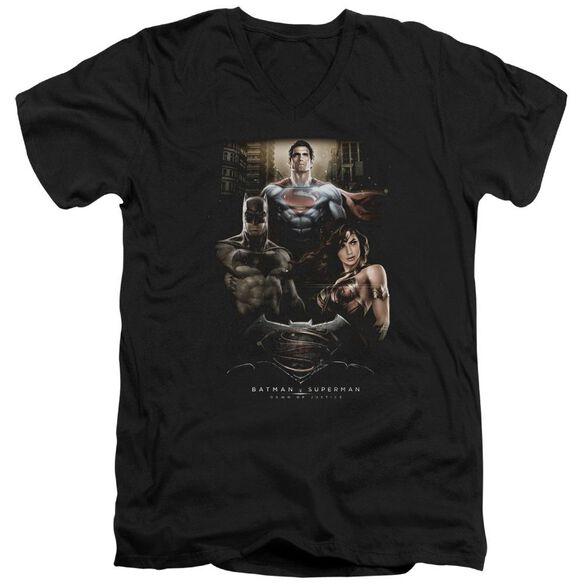 Batman V Superman Thre Three Short Sleeve Adult V Neck T-Shirt