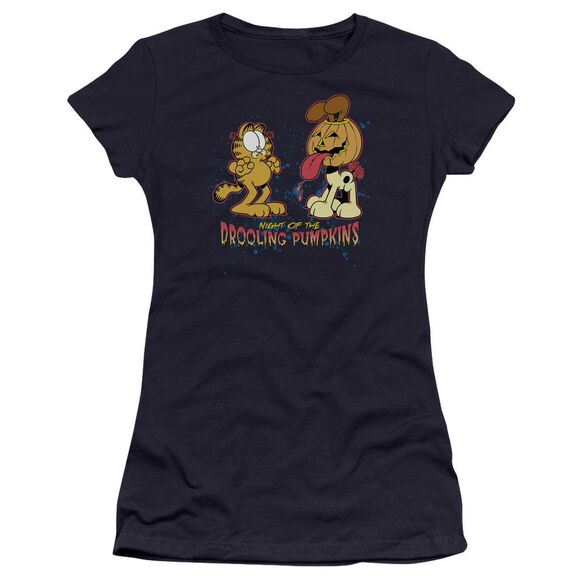 Garfield Drooling Pumpkins Premium Bella Junior Sheer Jersey