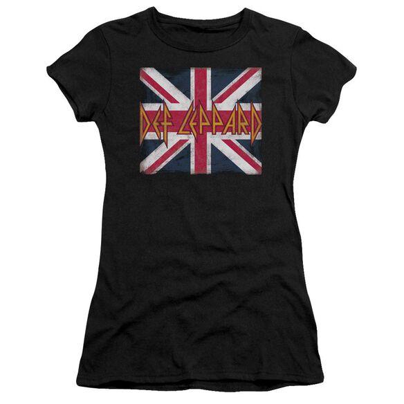 Def Leppard Union Jack Short Sleeve Junior Sheer T-Shirt