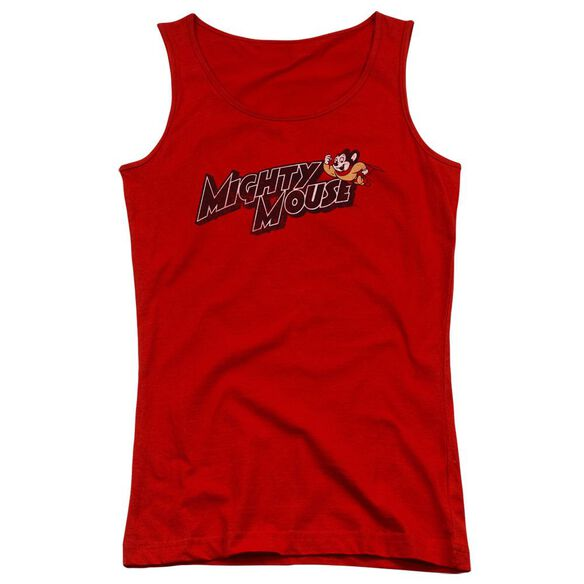 Mighty Mouse Might Logo Juniors Tank Top