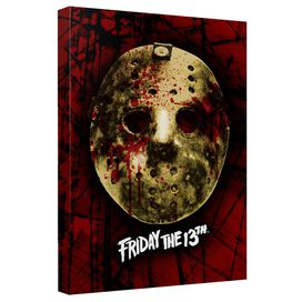 Friday The 13 Th Bloody Mask Canvas Wall Art With Back Board