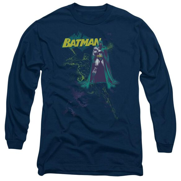 BATMAN BAT SPRAY - L/S ADULT 18/1 - NAVY T-Shirt