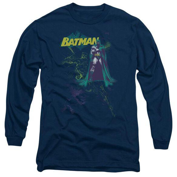 BATMAN BAT SPRAY - L/S ADULT 18/1 - NAVY T-Shirt