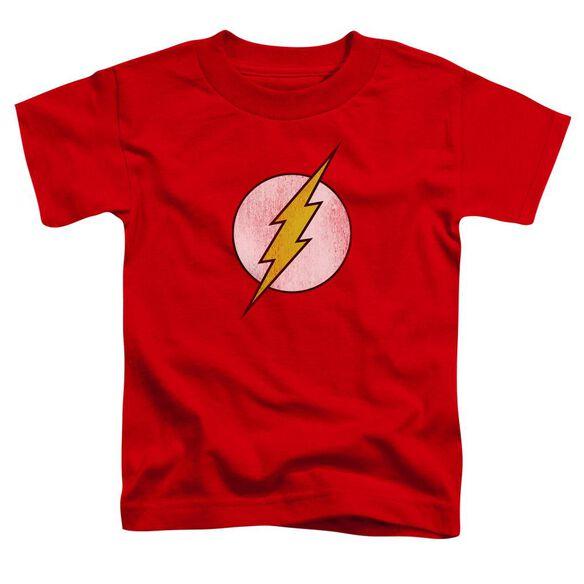 Dc Flash Flash Logo Distressed Short Sleeve Toddler Tee Red Sm T-Shirt