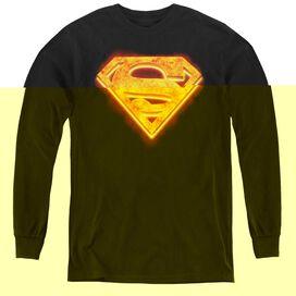 Superman Hot Steel Shield - Youth Long Sleeve Tee - Black