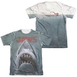 JAWS POSTER (FRONT/BACK PRINT) - ADULT 65/35 POLY/COTTON S/S TEE - WHITE T-Shirt