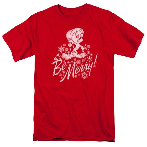 Looney Tunes Merry Tweety Short Sleeve Adult Red T-Shirt