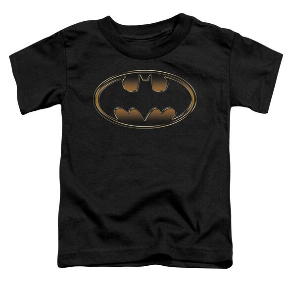 Batman Black & Gold Embossed Short Sleeve Toddler Tee Black T-Shirt