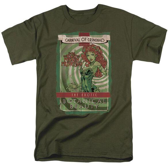 Batman Botanical Beauty Short Sleeve Adult Military Green T-Shirt