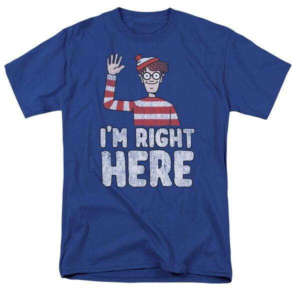 Wheres Waldo Im Right Here Short Sleeve Adult Royal T-Shirt