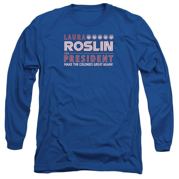 Bsg Roslin For President Long Sleeve Adult Royal T-Shirt