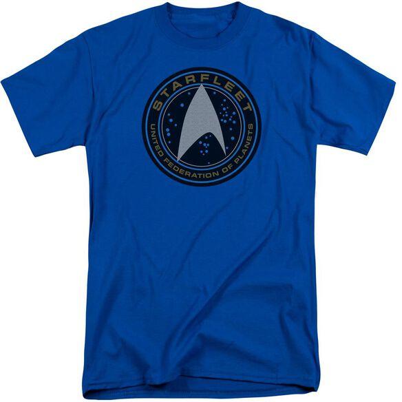 Star Trek Beyond Starfleet Patch Short Sleeve Adult Tall Royal T-Shirt