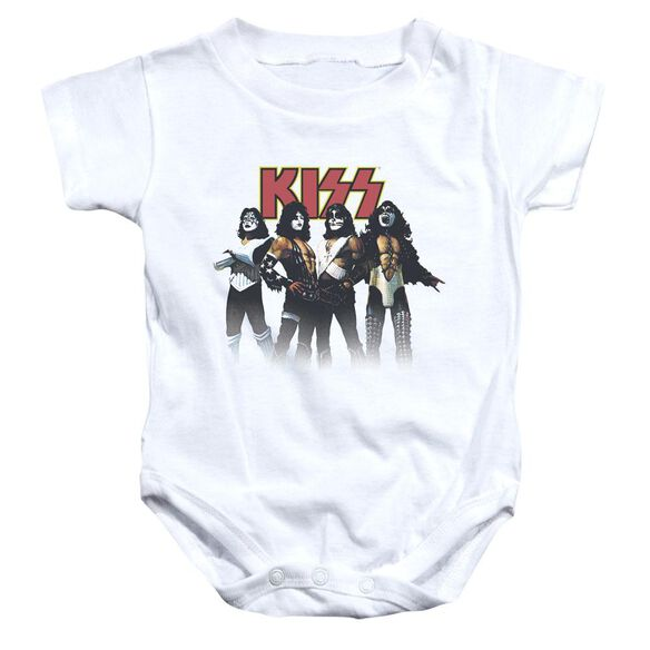 Kiss Throwback Pose Infant Snapsuit White