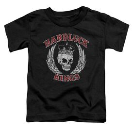 Hardluck Kings Red Letter Distressed Short Sleeve Toddler Tee Black T-Shirt