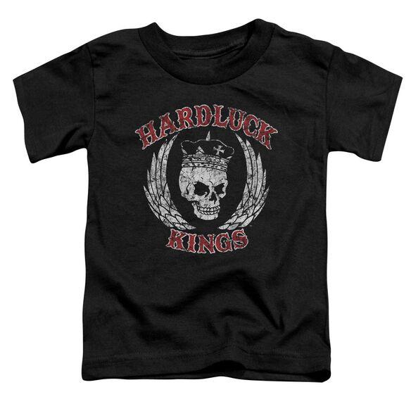 Hardluck Kings Red Letter Distressed Short Sleeve Toddler Tee Black T-Shirt