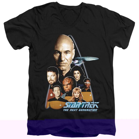STAR TREK THE NEXT GENERATION - S/S ADULT V-NECK - BLACK T-Shirt