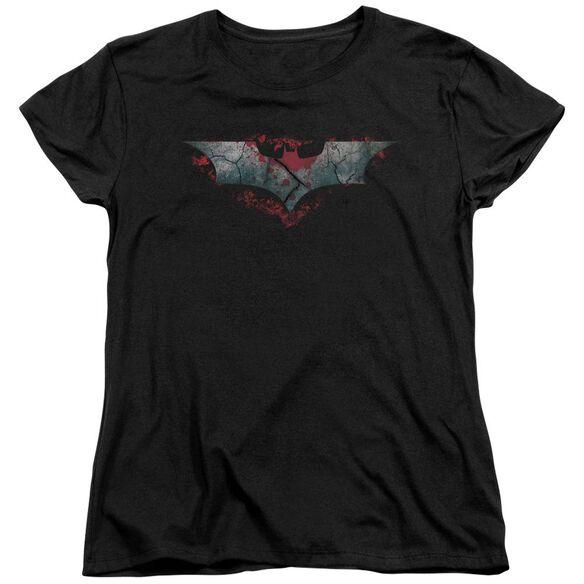 Dark Knight Rises Split & Crack Logo Short Sleeve Womens Tee Black T-Shirt