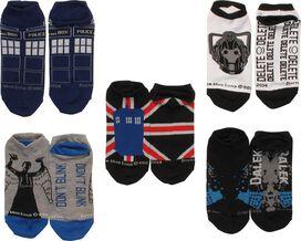 Doctor Who TARDIS Enemies 5 Pair Low Cut Socks Set