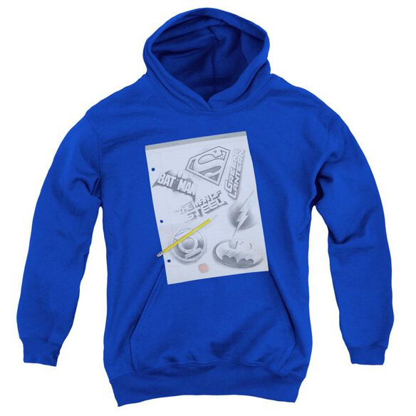 Dc Logo Note Paper-youth Pull-over Hoodie - Royal