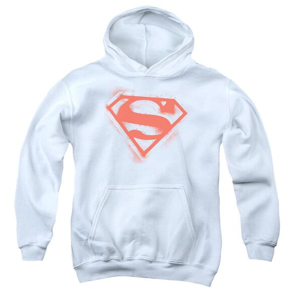 Superman Spray Paint Shield Youth Pull Over Hoodie