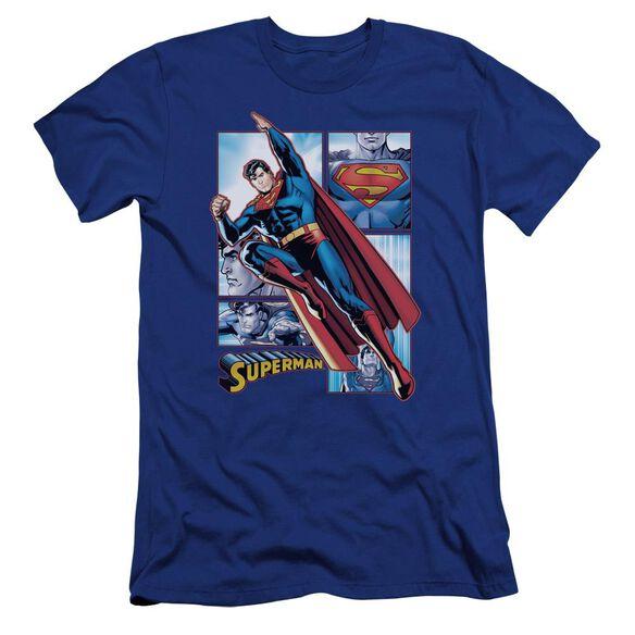 Jla Superman Panels Premuim Canvas Adult Slim Fit Royal