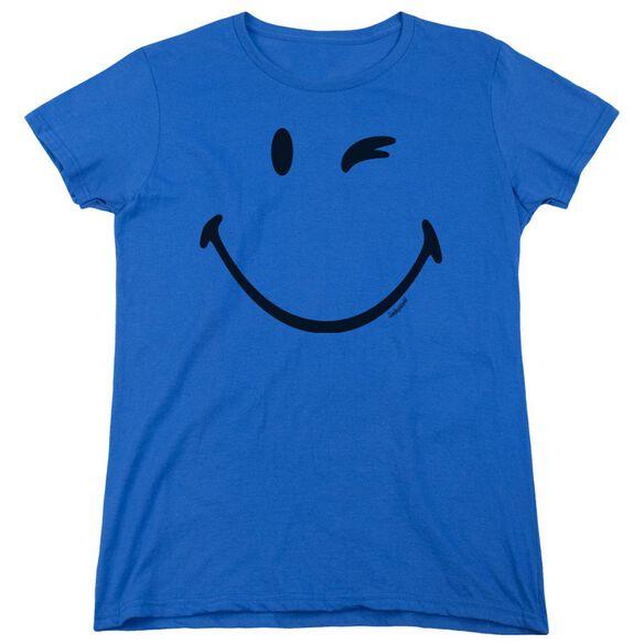 Smiley World Big Wink Short Sleeve Womens Tee Royal T-Shirt