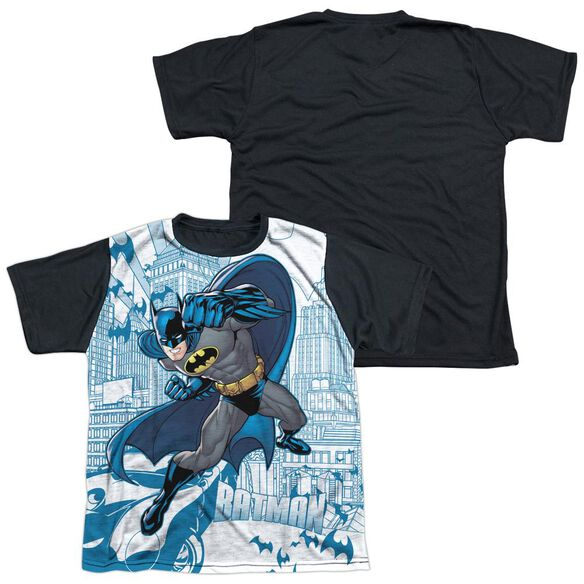 Batman Skyline All Over Short Sleeve Youth Front Black Back T-Shirt