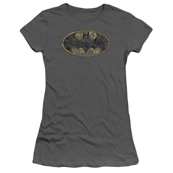 Batman Tattered Logo Short Sleeve Junior Sheer T-Shirt