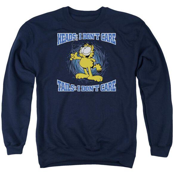 Garfield Heads Or Tails - Adult Crewneck Sweatshirt - Navy