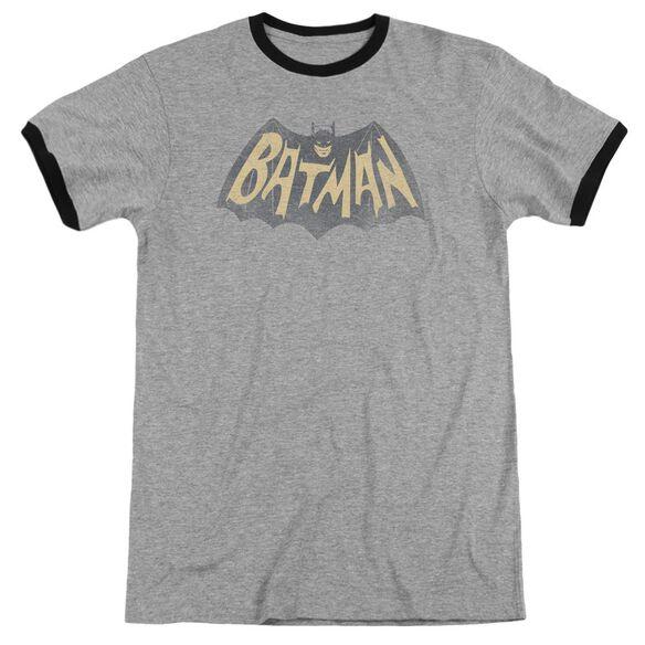 Batman Classic Tv Show Logo Adult Ringer Heather Black