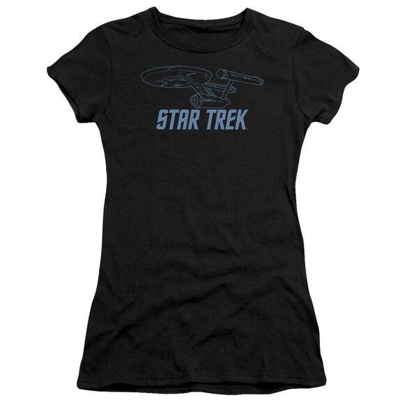 Star Trek Enterprise Outline Short Sleeve Junior Sheer T-Shirt