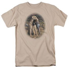 Wildlife Yellow Lab With Pheasant Short Sleeve Adult Sand T-Shirt