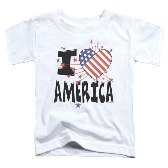 I Heart America Short Sleeve Toddler Tee White Md T-Shirt
