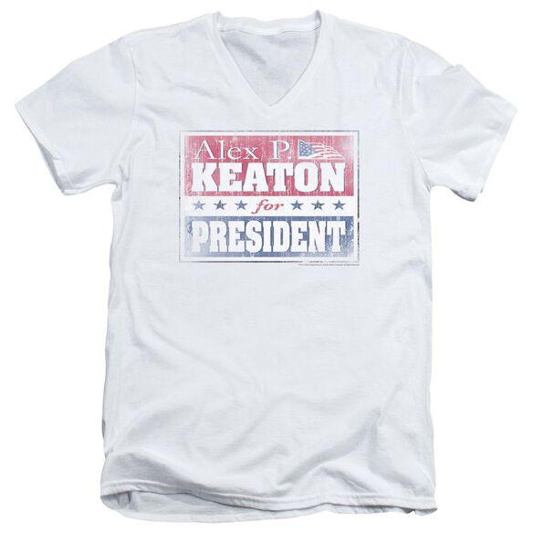 FAMILY TIES ALEX FOR PRESIDENT - S/S ADULT V-NECK - WHITE T-Shirt