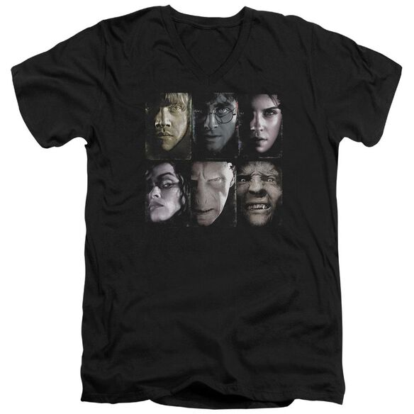 Harry Potter Horizontal Heads Short Sleeve Adult V Neck T-Shirt