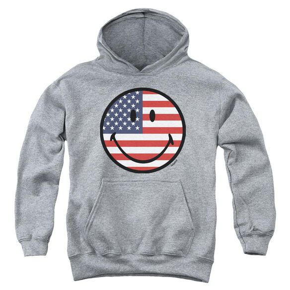 Smiley World American Flag Face Youth Pull Over Hoodie Athletic