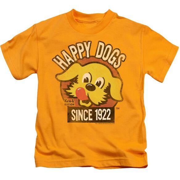 Ken L Ration Happy Dogs Short Sleeve Juvenile Gold T-Shirt