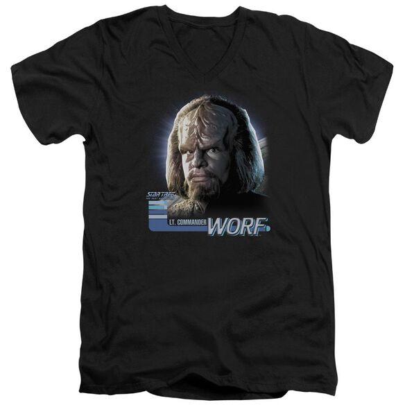 Star Trek Tng Worf Short Sleeve Adult V Neck T-Shirt