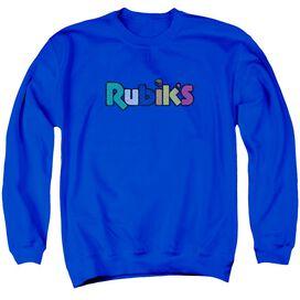 Rubik's Cube Smudge Logo Adult Crewneck Sweatshirt Royal