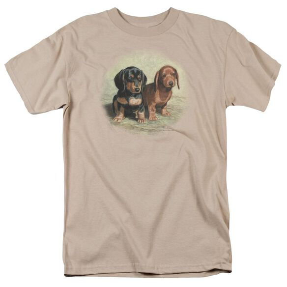 Wildlife Dachshund Pups Short Sleeve Adult Sand T-Shirt